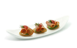 Canape with ham Stock Photography