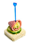 Canape with ham, cheese and cucumber Royalty Free Stock Images