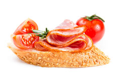 Canape with ham and tomato Royalty Free Stock Image