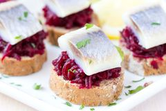 Canape herring with bees on rye toast, tasty starter, appertise Royalty Free Stock Photo