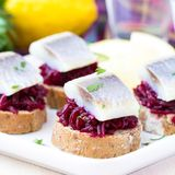 Canape herring with beets on rye toast, tasty starter, appertise Royalty Free Stock Image