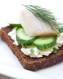 Canape with herring, cream cheese and cucumber Stock Images