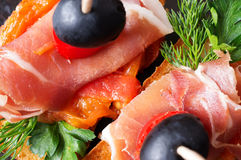 Canape with jamon top view Stock Photography