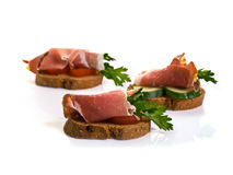 Canape with Jamon Royalty Free Stock Photos
