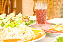Canape and juice Royalty Free Stock Image