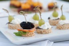 Canape, luksusowy jedzenie dla wydarzenia Zdjęcie Stock