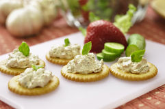 Canape. Made from biscuit, tuna pate royalty free stock photo