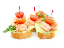Canape made from shrimp Royalty Free Stock Photo
