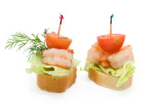 Canape made from shrimp Royalty Free Stock Photography