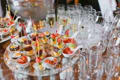 Canape with meat Royalty Free Stock Photos
