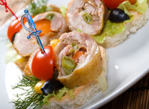 Canape with meat loaf. Royalty Free Stock Photography