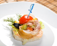 Canape with meat loaf.close up Stock Photos