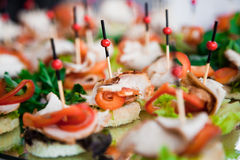 Canape with meat and vegetable. Closeup stock photo
