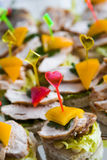 Canape with meat  and vegetable Royalty Free Stock Photos