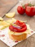 Canape met tomaten en mozarella Royalty-vrije Stock Afbeelding