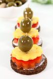 Canape mit cheese Stock Photos