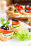 Canape with olives and cheese Royalty Free Stock Image