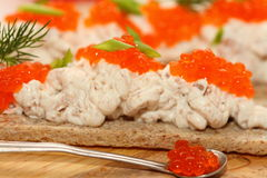 Canape from paste with caviar Stock Image