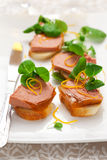 Canape with pate. Canape with chicken liver pate for holiday stock photos