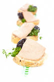 Canape with pate. Luxurious french dining. Royalty Free Stock Images