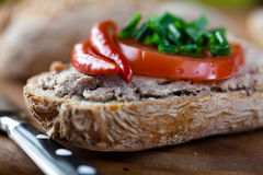 Canape with pate and vegetables Royalty Free Stock Images