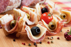 Canape with pickled olives Royalty Free Stock Photo