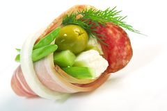 Canape platter with cheese, smoked sausage Stock Photos