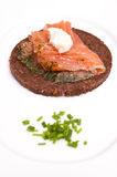 Canape from Pumpernickel with graved salmon Royalty Free Stock Image