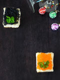 Canape with red and black caviar Royalty Free Stock Photo