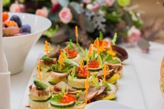 Canape with red caviar royalty free stock photos