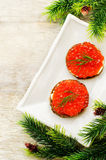 Canape with red caviar and cream cheese Stock Images
