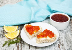 Canape with red caviar Stock Photography