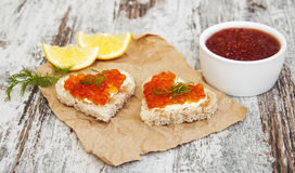 Canape with red caviar Royalty Free Stock Photography