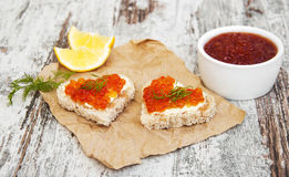 Canape with red caviar Stock Photo
