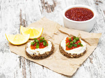 Canape with red caviar Stock Image