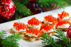 Canape with red caviar for party, Stock Image