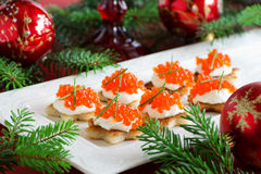 Canape with red caviar for party, Royalty Free Stock Image