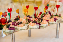 Canape with red fish with white bread royalty free stock photo