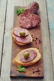 Canape with salami Royalty Free Stock Photos