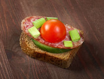 Canape with Salami ,tomat Stock Photos