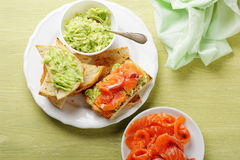 Canape with salmon and avocado sauce Royalty Free Stock Photography
