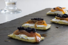 Canape with salmon Stock Photography