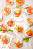 Canape with salmon Stock Image