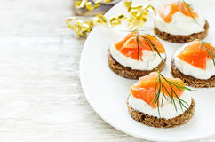 Canape with salmon and cream cheese with dill Stock Images