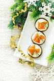 Canape with salmon and cream cheese with dill Royalty Free Stock Photography