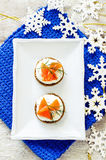 Canape with salmon and cream cheese with dill Stock Image