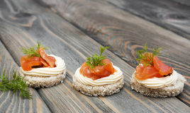 Canape with salmon Royalty Free Stock Image