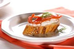 Canape Salmon do queijo Imagens de Stock