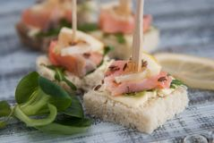 Canape with Salmon Fish Pieces, Butter Cream, White Bread and Arugula Leaves. European food. Wooden Gray Background. Canape with Salmon Fish Pieces, Butter Royalty Free Stock Photography