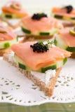 Canape Salmon fumado Imagem de Stock Royalty Free